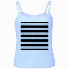 Stripes2 Black Marble & White Leather Baby Blue Spaghetti Tank