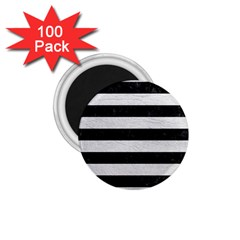 Stripes2 Black Marble & White Leather 1 75  Magnets (100 Pack)