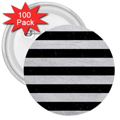 Stripes2 Black Marble & White Leather 3  Buttons (100 Pack)