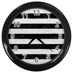 Stripes2 Black Marble & White Leather Wall Clocks (black)