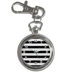 Stripes2 Black Marble & White Leather Key Chain Watches