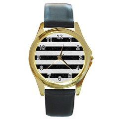 Stripes2 Black Marble & White Leather Round Gold Metal Watch