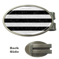Stripes2 Black Marble & White Leather Money Clips (oval)