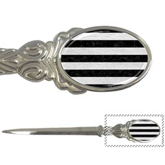 Stripes2 Black Marble & White Leather Letter Openers