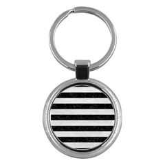Stripes2 Black Marble & White Leather Key Chains (round)