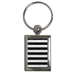 Stripes2 Black Marble & White Leather Key Chains (rectangle)
