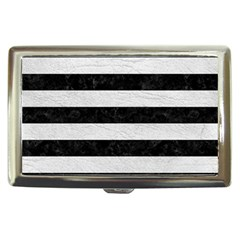 Stripes2 Black Marble & White Leather Cigarette Money Cases