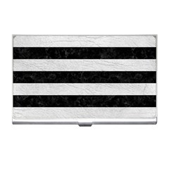 Stripes2 Black Marble & White Leather Business Card Holders