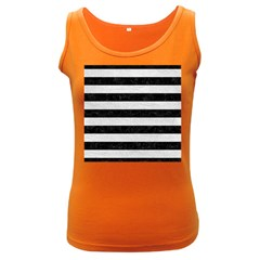 Stripes2 Black Marble & White Leather Women s Dark Tank Top