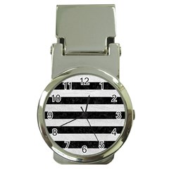 Stripes2 Black Marble & White Leather Money Clip Watches