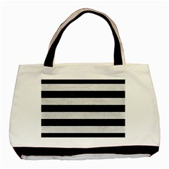 Stripes2 Black Marble & White Leather Basic Tote Bag