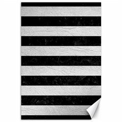 Stripes2 Black Marble & White Leather Canvas 12  X 18