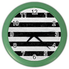 Stripes2 Black Marble & White Leather Color Wall Clocks