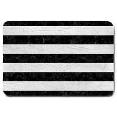 Stripes2 Black Marble & White Leather Large Doormat