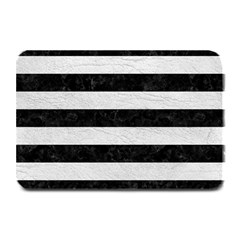 Stripes2 Black Marble & White Leather Plate Mats