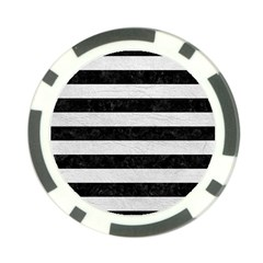 Stripes2 Black Marble & White Leather Poker Chip Card Guard