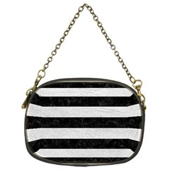 Stripes2 Black Marble & White Leather Chain Purses (two Sides)