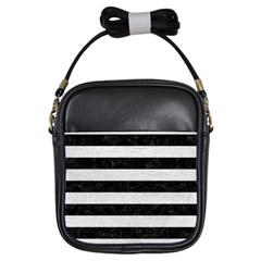 Stripes2 Black Marble & White Leather Girls Sling Bags