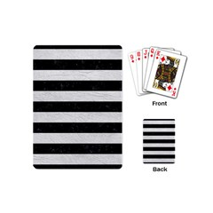 Stripes2 Black Marble & White Leather Playing Cards (mini)