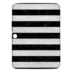 Stripes2 Black Marble & White Leather Samsung Galaxy Tab 3 (10 1 ) P5200 Hardshell Case