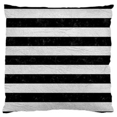 Stripes2 Black Marble & White Leather Standard Flano Cushion Case (one Side)