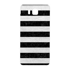 Stripes2 Black Marble & White Leather Samsung Galaxy Alpha Hardshell Back Case