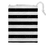 STRIPES2 BLACK MARBLE & WHITE LEATHER Drawstring Pouches (XXL) Front