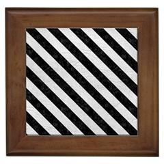 Stripes3 Black Marble & White Leather Framed Tiles