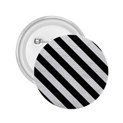 Stripes3 Black Marble & White Leather 2 25  Buttons