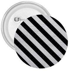 Stripes3 Black Marble & White Leather 3  Buttons