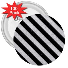 Stripes3 Black Marble & White Leather 3  Buttons (100 Pack)