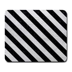 Stripes3 Black Marble & White Leather Large Mousepads