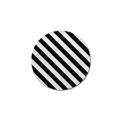 Stripes3 Black Marble & White Leather Golf Ball Marker (4 Pack)