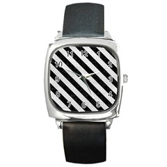 Stripes3 Black Marble & White Leather Square Metal Watch