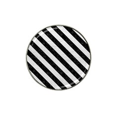 Stripes3 Black Marble & White Leather Hat Clip Ball Marker