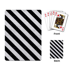 Stripes3 Black Marble & White Leather Playing Card