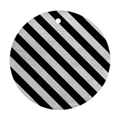 Stripes3 Black Marble & White Leather Round Ornament (two Sides)
