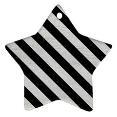 Stripes3 Black Marble & White Leather Star Ornament (two Sides)