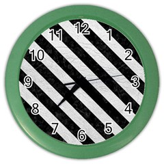 Stripes3 Black Marble & White Leather Color Wall Clocks