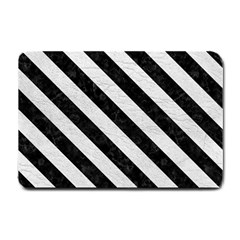 Stripes3 Black Marble & White Leather Small Doormat