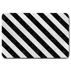 Stripes3 Black Marble & White Leather Large Doormat