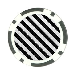 Stripes3 Black Marble & White Leather Poker Chip Card Guard