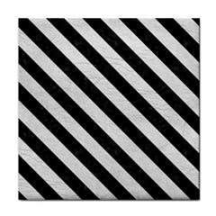 Stripes3 Black Marble & White Leather Face Towel