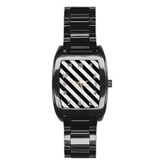 Stripes3 Black Marble & White Leather Stainless Steel Barrel Watch