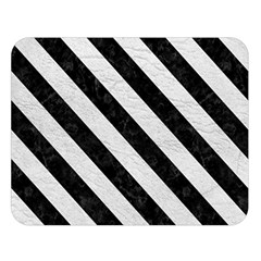 Stripes3 Black Marble & White Leather Double Sided Flano Blanket (large)