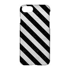 Stripes3 Black Marble & White Leather Apple Iphone 7 Hardshell Case