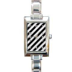Stripes3 Black Marble & White Leather (r) Rectangle Italian Charm Watch
