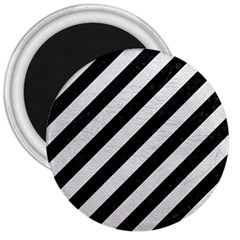 Stripes3 Black Marble & White Leather (r) 3  Magnets