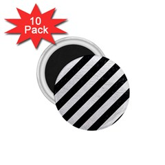 Stripes3 Black Marble & White Leather (r) 1 75  Magnets (10 Pack)