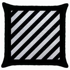Stripes3 Black Marble & White Leather (r) Throw Pillow Case (black)